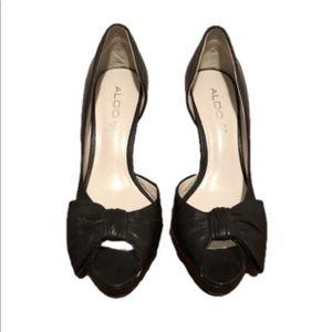 Aldo Black Open Toe d'Orsay Bow Heels